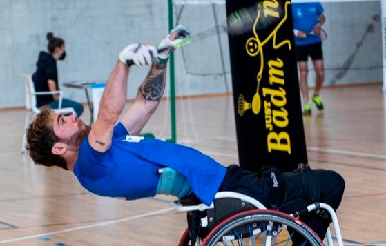Rubén Nova, sobre su silla en un entrenamiento