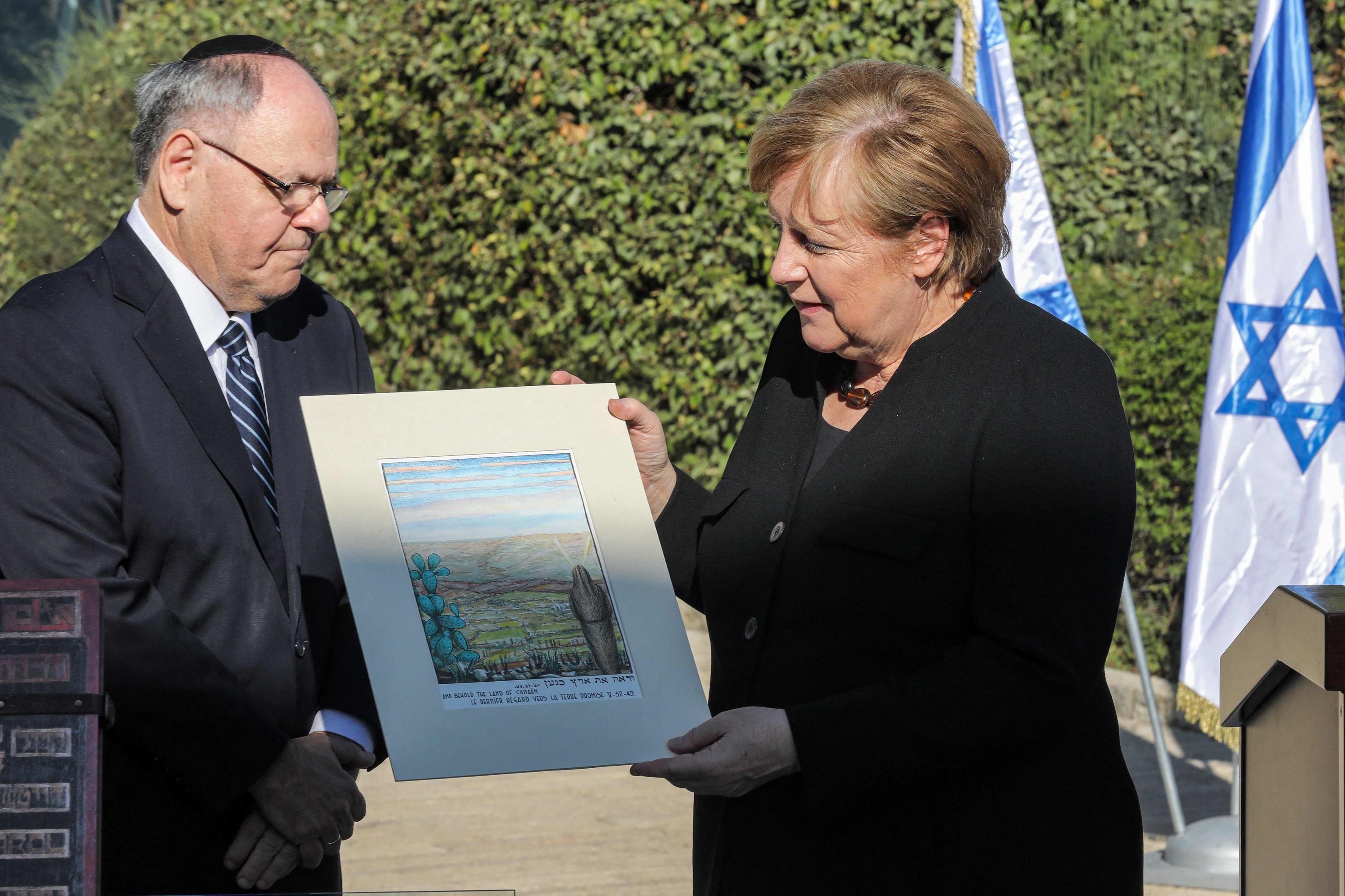Angela Merkel en una ceremonia hoy en Jerusalén.