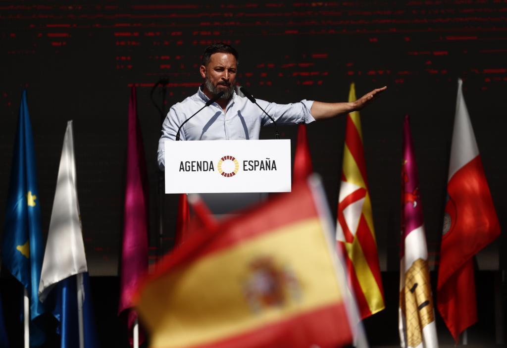 Santiago Abascal, el domingo 10 de octubre, durante la presentación en Madrid de su 'Agenda España'.
