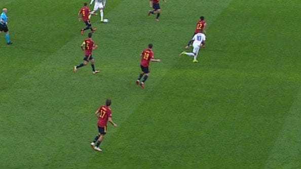 Mbappé, en la arranca que desembocó en el 1-2.