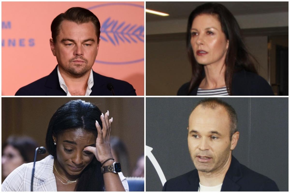 De izquierda a derecha y de arriba abajo: Leonardo DiCaprio, Catherine Zeta-Jones, Simone Biles y Andrés Iniesta.
