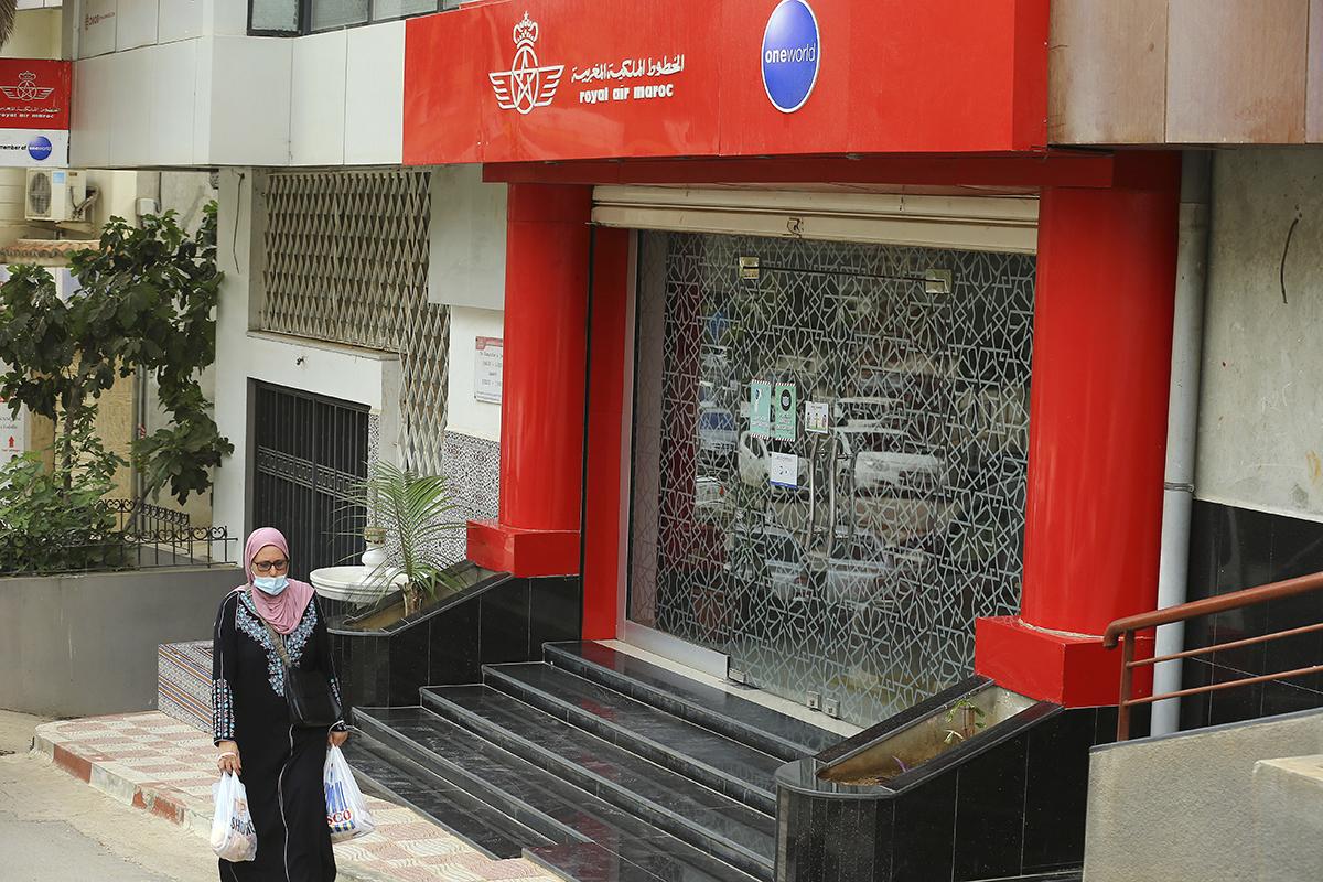 Una oficina cerrada de la Royal Air Maroc, en Argel.