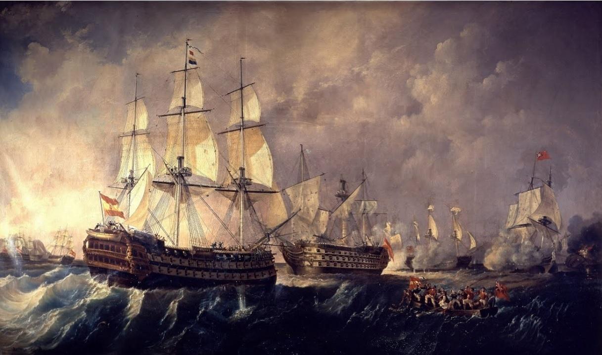 'Combate del Cabo de San Vicente. El navío Pelayo acude en auxilio del navío Santísima Trinidad'. Cuadro de Antonio Brugada.