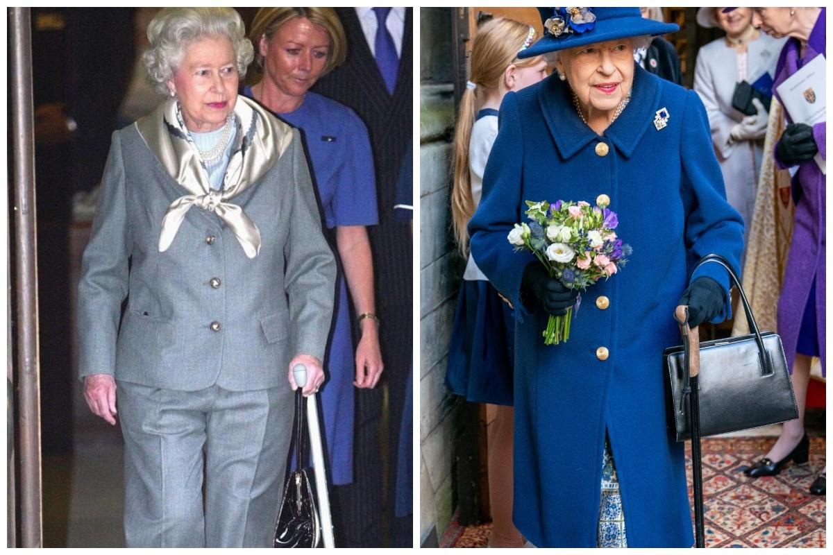 La reina Isabel, con bastón, saliendo del hospital donde fue operada en 2003. A la derecha, este fin de semana, también con bastón.