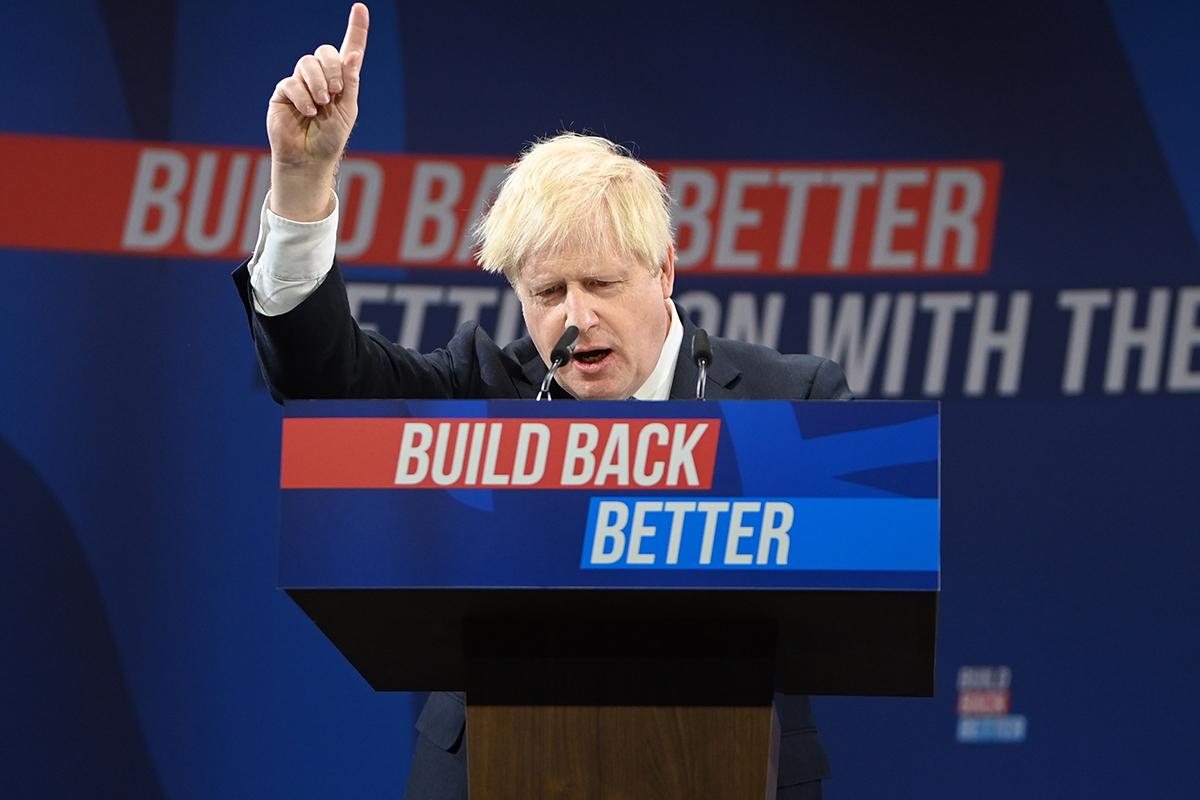 Boris Johnson, durante un discurso en Manchester.