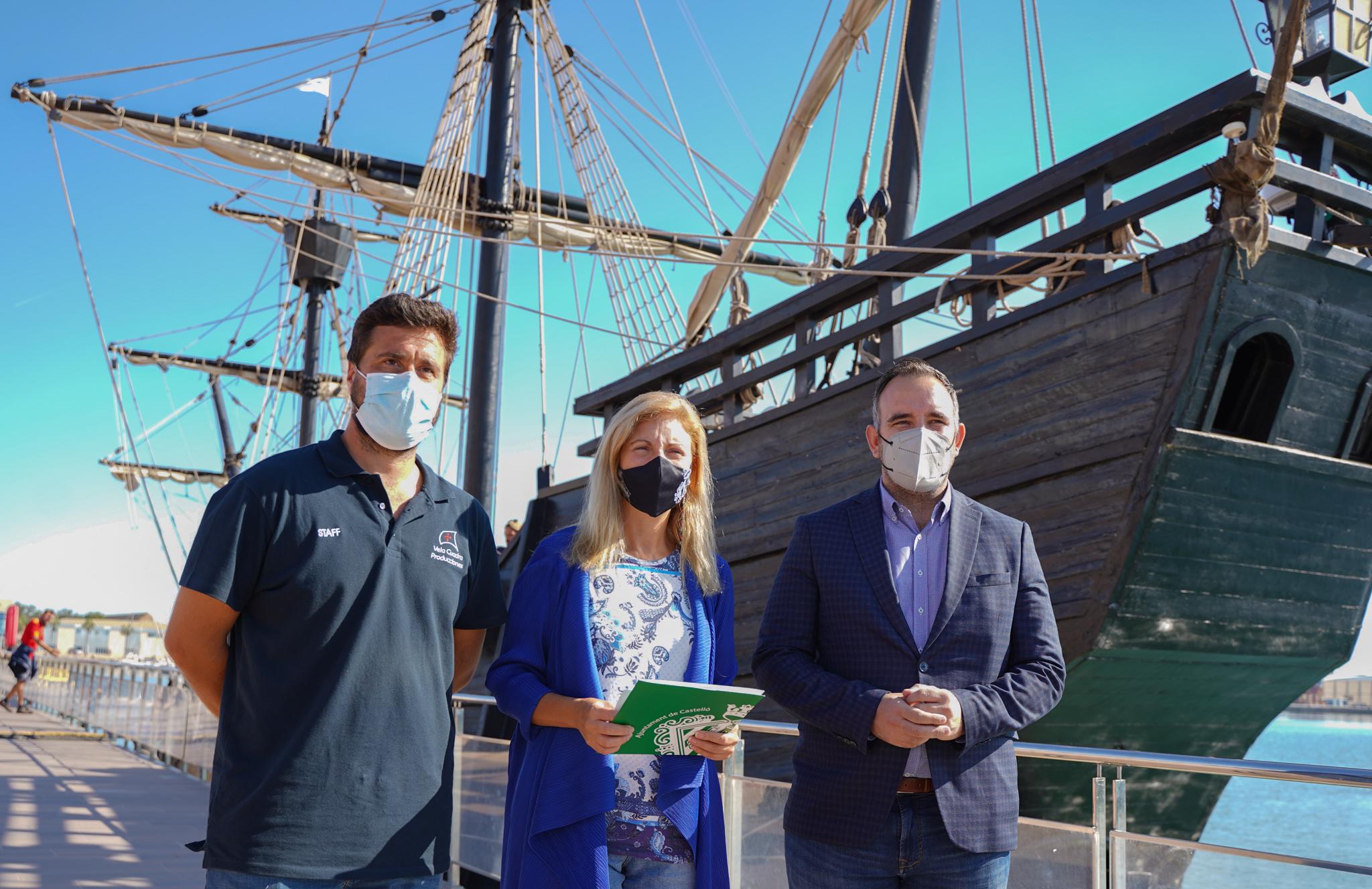 La alcaldesa Amparo Marco junto a Fernando Viota, de la Fundació Nao Victoria, y del presidente de PortCastelló, Rafa Simó, han hecho balance.