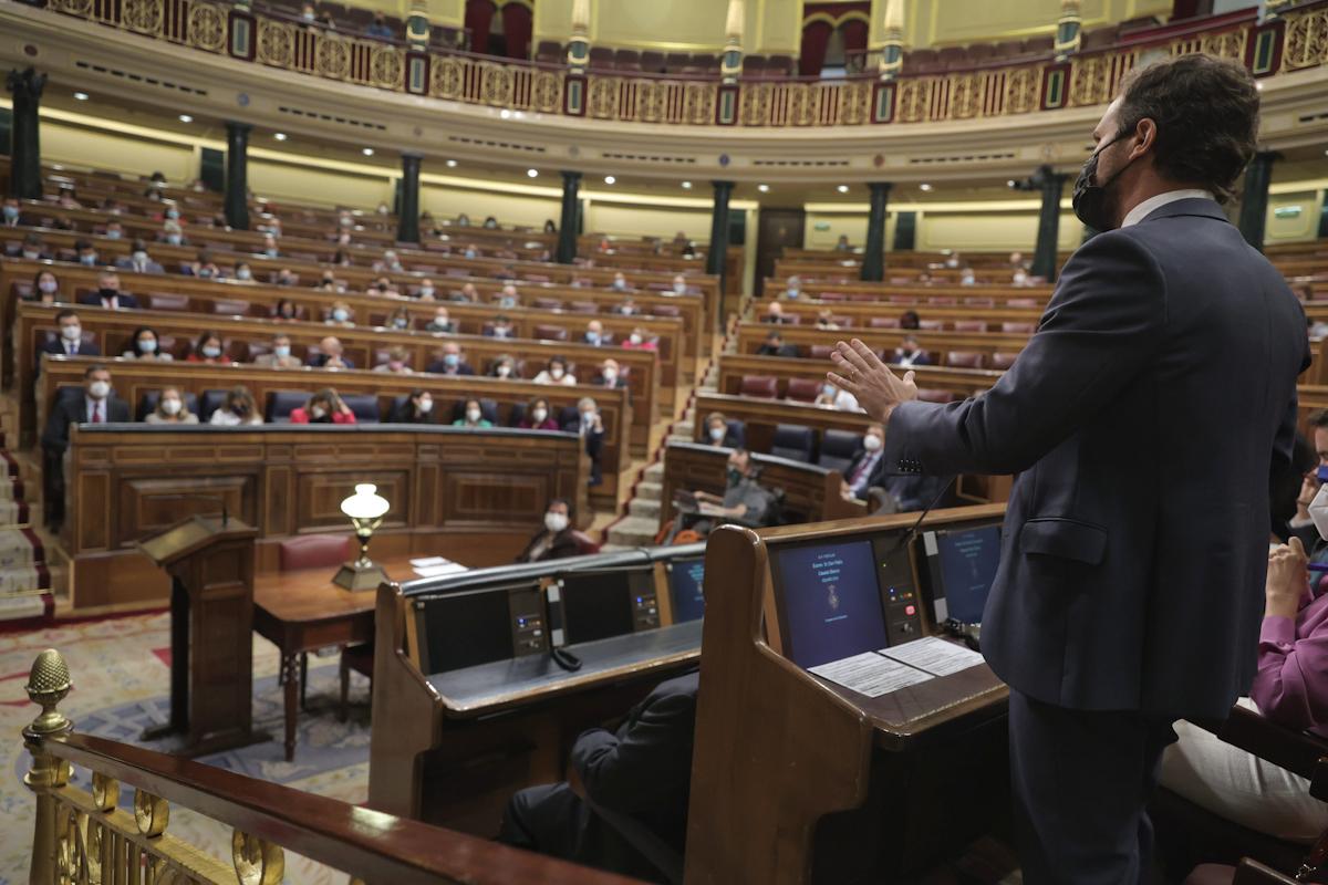 Pablo Casado, este miércoles, en el Congreso.