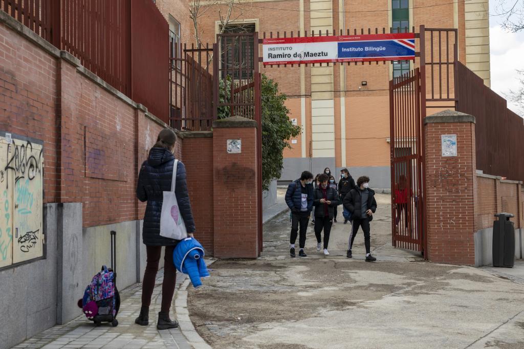 Alumnos, en un instituto de Madrid.