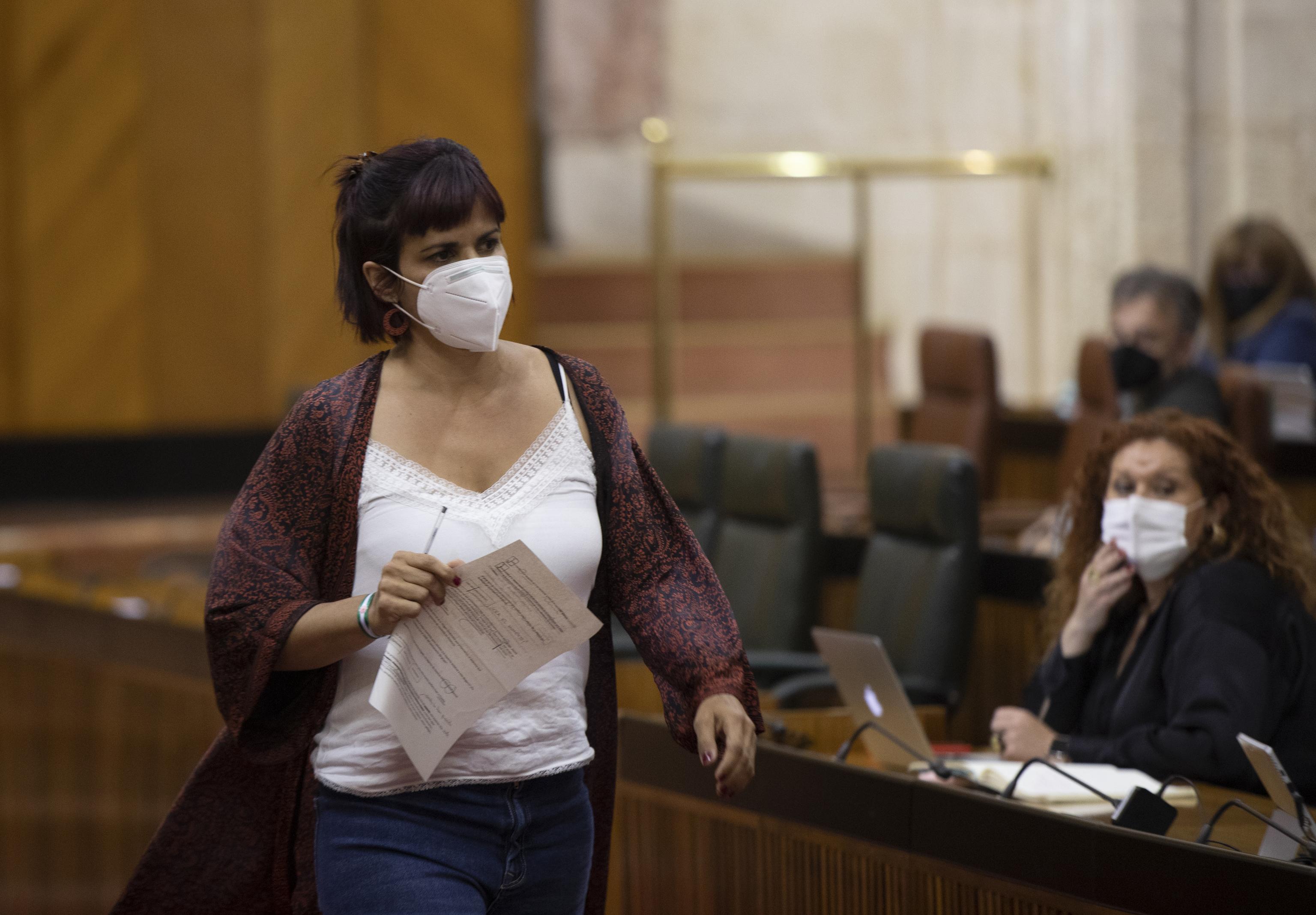 La diputada Teresa Rodríguez, en el Parlamento andaluz.