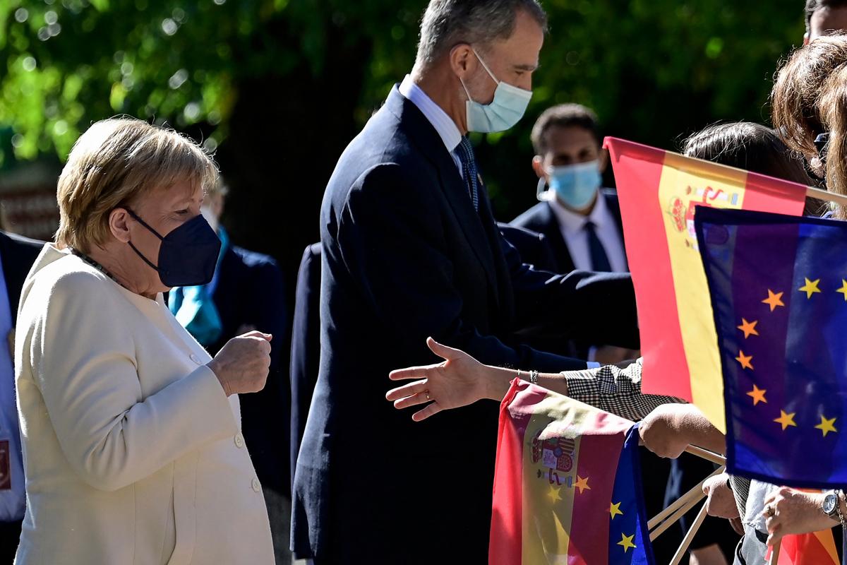 Angela Merkel y Felipe VI, este jueves.