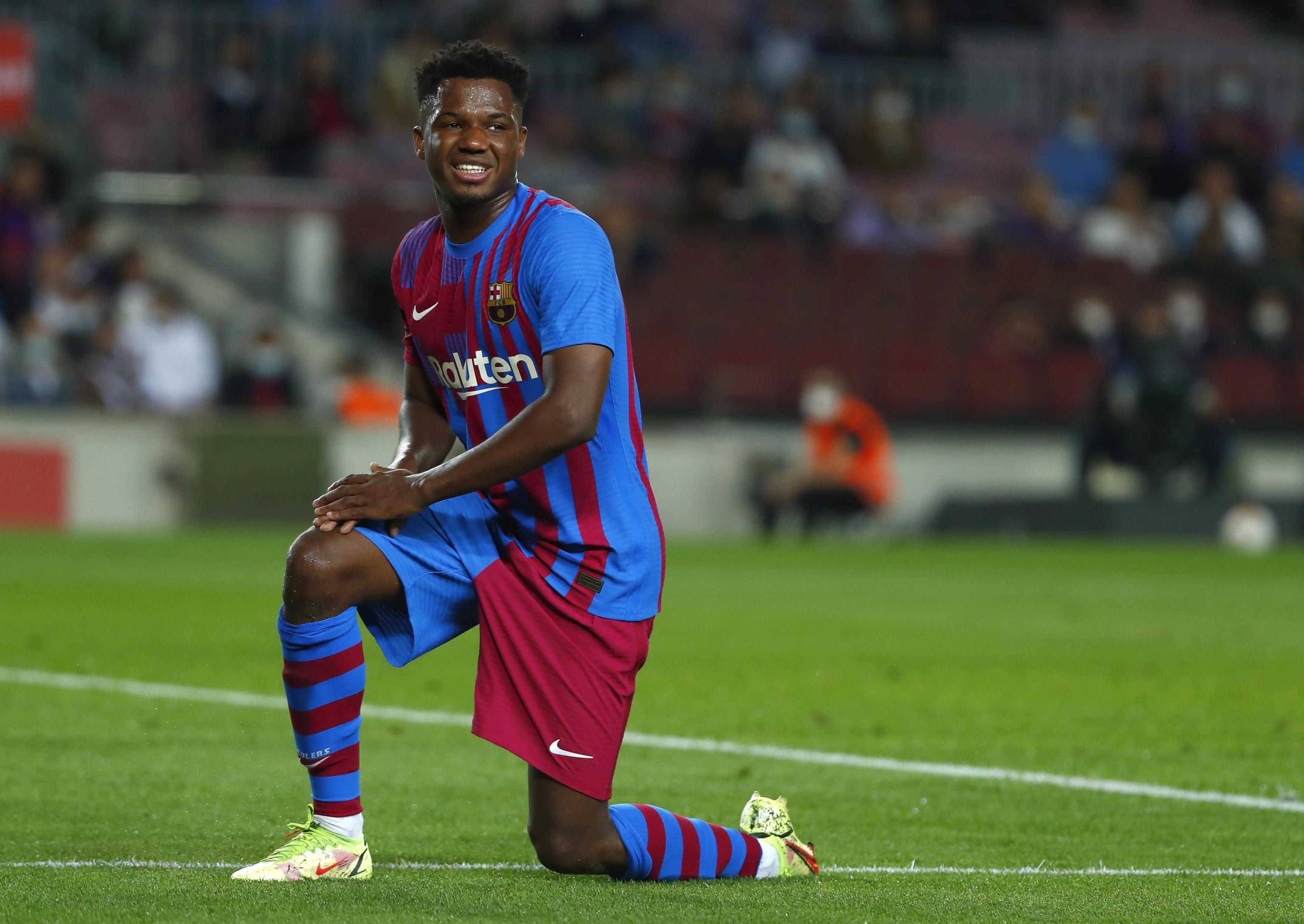 Ansu Fati, durante el partido ante el Valencia.