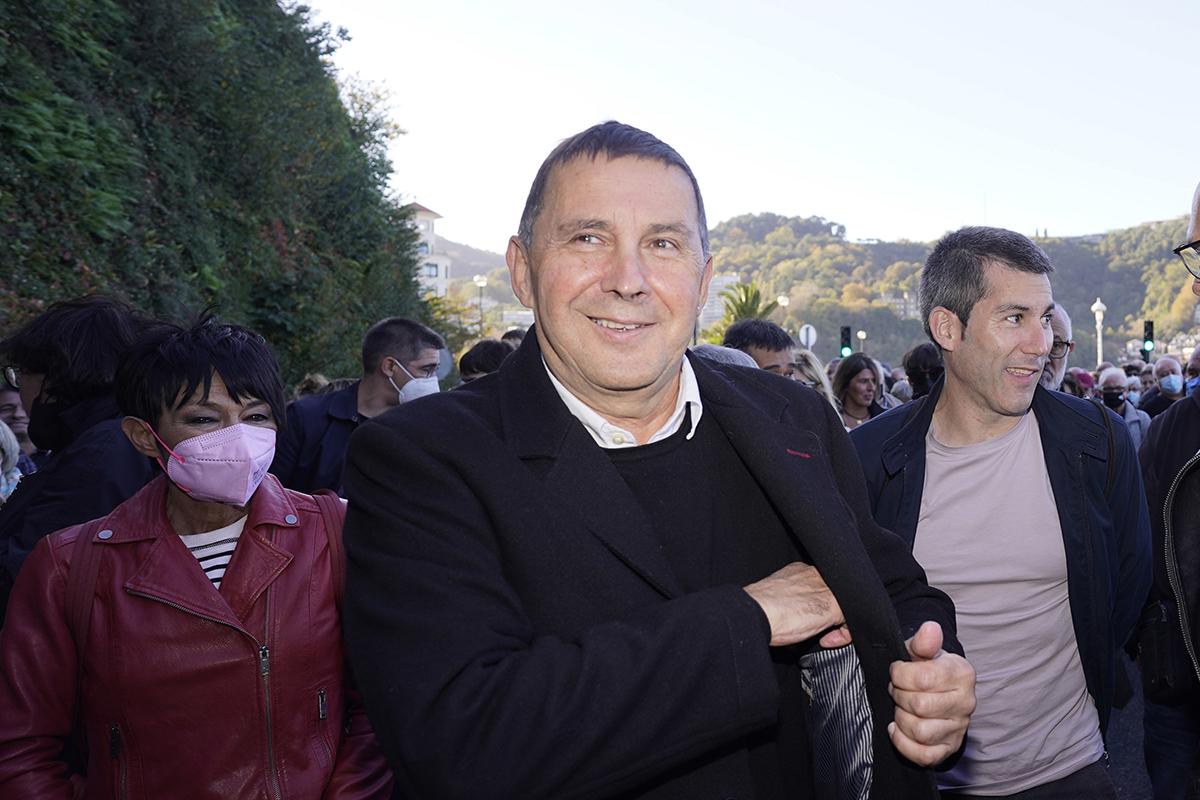 Arnaldo Otegi, en la marcha de ayer por los presos etarras.
