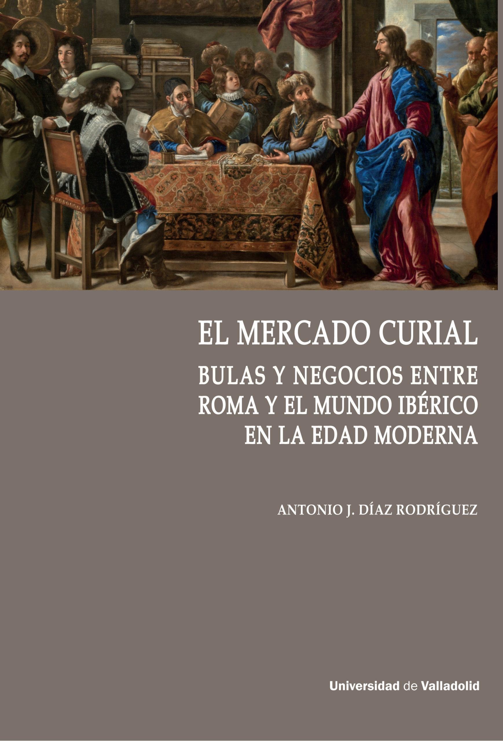Detalle de la portada de 'El mercado curial'.