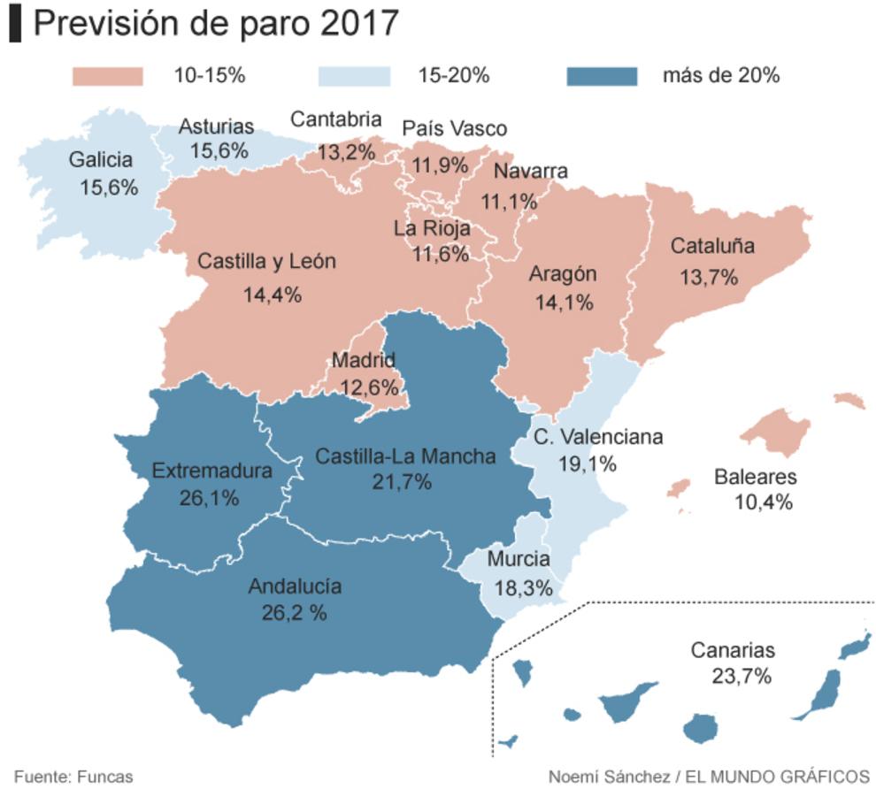 El mapa del paro la recuperaci n laboral no llega al sur for Oficina de paro madrid