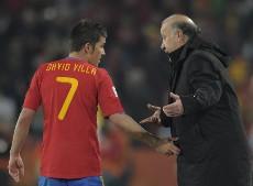 David Villa, junto a Vicente del Bosque.