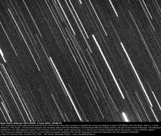 Asteroide 2014 KH39 en su encuentro cercano a la Tierra del 3 de junio de 2014