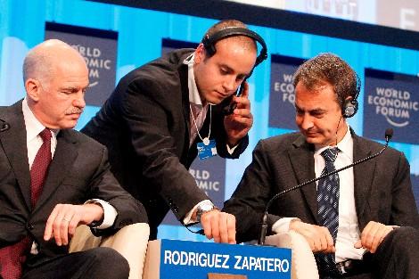 Un traductor se interpone entre Zapatero y Yorgos Papandreu