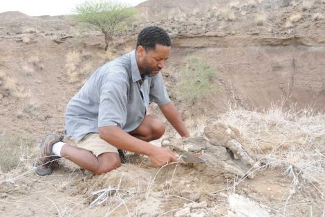El investigador Zaeresenay Alemseged, en las excavaciones - Nature