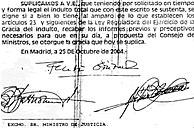 Imagen de las firmas de petición de indulto