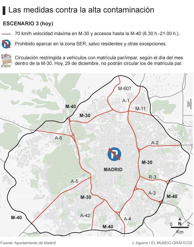 Restricciones Tráfico Madrid Mapa.Madrid Prohibe La Circulacion A La Mitad Del Parque