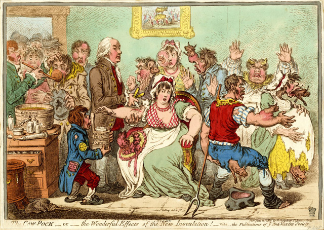 Caricatura de 1802 titulada The Cow-Pock-or-the Wonderful Effects of the New Inoculation!}