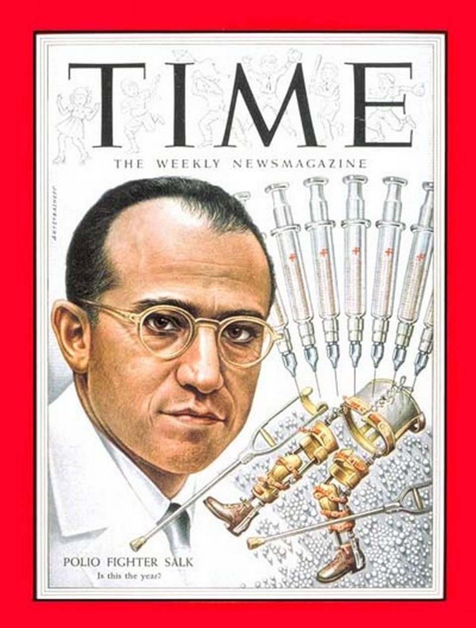 Jonas Salk, en la portada de la revista Time de 1954.}