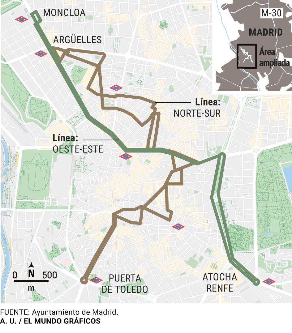 Mapa Lineas Emt Madrid.Este Es El Recorrido De Las Dos Lineas Gratuitas De Autobus Que Recorreran El Centro De Madrid Madrid