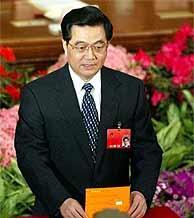 Jintao, en la votación de la Asamblea (AP)