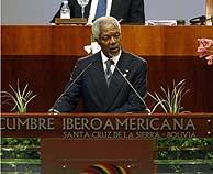 Kofi Annan, durante su discurso en la inauguración de la cumbre. (AFP)