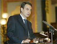 José Luis Rodríguez Zapatero, en la Tribuna del Congreso. (Alberto Cuellar)