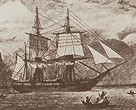 El 'HMS Beagle' en una ilustración del siglo XIX.
