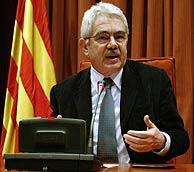 El presidente de la Generalitat, Pasquel Maragall, durante su comparecencia. (EFE)