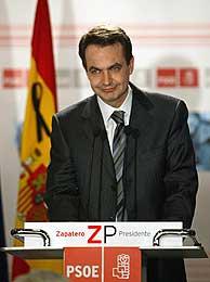 José Luis Rodríguez Zapatero, durante la comparecencia. (AFP)