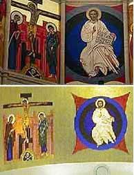 Arriba, 'La Cruxifixión' y el 'Pantocrator', obra de Kiko Argüello en La Almudena; abajo los murales de la iglesia de Santo Domingo que ha copiado. (EL MUNDO)