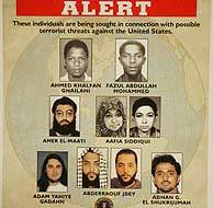 Fotografía de siete sospechosos a los que el FBI busca. (AP)