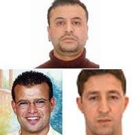 Mohamed Chaoui, Mohamed Bekkali (izq.) y Abderrahim Zbakn (dcha.).