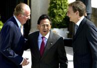 El Rey y Zapatero conversan con el presidente de Perú en El Pardo.(EFE)