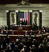 Aznar, en su discurso ante el Congreso el 4 de febrero. (AFP)
