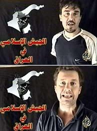 Christian Chesnot y Georges Malbrunot, en el mensaje emitido por Al Yazira el lunes. (AFP)