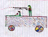 Los niños dibujan lo que ven: hombres disparando desde un camión