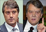 Yushchenko, antes y después de su supuesto envenenamiento. (AFP)