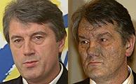Yushchenko, antes y después del envenenamiento. (AP)