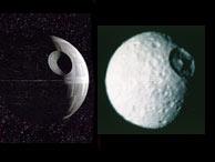 A la izquierda, la Estrella de la Muerte; a la derecha, la luna Mimas. (Foto: NASA)