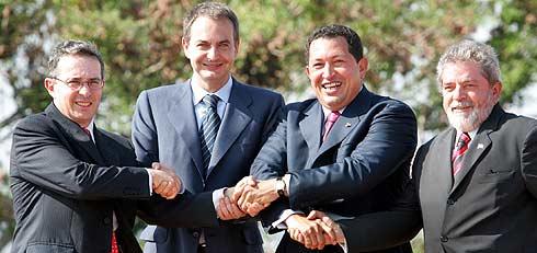 Álvaro Uribe, José Luis Rodríguez Zapatero, Hugo Chávez y Lula. (Foto: REUTERS)