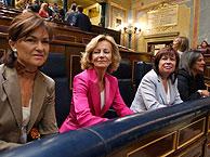 Calvo, Salgado, Narbona y Trujillo preparadas al comienzo del debate. (Foto: EFE)