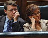 Jordi Sevilla y Carmen Calvo, en un momento del Debate. (Foto: EFE)