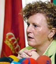 Begoña Errazti, durante una rueda de prensa en Pamplona. (Foto: EFE)