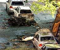 Lugar en que estalló la furgoneta. (Foto: EFE) VEA MÁS IMÁGENES