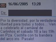 Imagen del SMS que se transmite estos días. (Foto: elmundo.es)