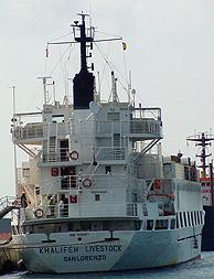 El barco Khalifeh Livestock, que ayudó a los inmigrantes. (Foto: Teresa Cruz)
